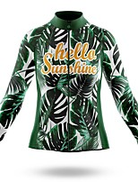 cheap -21Grams Women's Long Sleeve Cycling Jersey Spandex Polyester Green Floral Botanical Funny Bike Top Mountain Bike MTB Road Bike Cycling Quick Dry Moisture Wicking Breathable Sports Clothing Apparel