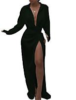 cheap -Women's Shirt Dress Maxi long Dress White Black Red Long Sleeve Solid Color Split Front Cross Fall Spring Shirt Collar Elegant Sexy Regular Fit 2021 S M L XL 2XL 3XL