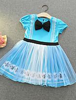 cheap -Toddler Little Girls' Dress Solid Colored A Line Dress Mesh Blue Purple Royal Blue Knee-length Short Sleeve Elegant Princess Dresses Fall Summer Regular Fit 2-6 Years