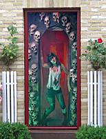 cheap -Halloween 2pcs Self-adhesive Horror Girl Door Sticker Living Room Diy Decoration Home Waterproof Wall Sticker 77x200cm