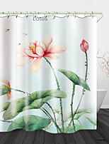 cheap -Beautiful Lotus Print Waterproof Fabric Shower Curtain for Bathroom Home Decor Covered Bathtub Curtains Liner Includes with Hooks