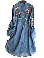 cheap -Women's Shirt Dress Knee Length Dress Dark Blue Light Blue Long Sleeve Floral Embroidered Button Fall Round Neck Casual 2021 M L XL XXL 3XL 4XL 5XL