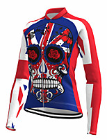 cheap -21Grams Women's Long Sleeve Cycling Jersey Spandex Polyester Blue Skull Funny Bike Top Mountain Bike MTB Road Bike Cycling Quick Dry Moisture Wicking Breathable Sports Clothing Apparel / Stretchy
