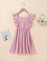 cheap -Kids Little Girls' Dress Solid Colored Daily Vacation Backless Ruffle Patchwork Blushing Pink Sleeveless Vacation Cute Dresses Children's Day Summer 4-13 Years