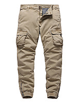cheap -Men's Cargo Chino Cycling Breathable Outdoor Sports Pants Sweatpants Loose Casual Daily Pants Solid Color Full Length Zipper Pocket Army Green Gray Khaki Black Dark Blue / Elasticity
