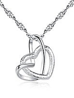 cheap -Women's Pendant Necklace Charm Necklace Classic Heart Fashion Zircon Copper Silver Plated Silver 45 cm Necklace Jewelry 1pc For Christmas Party Evening Street Gift Birthday Party