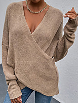 cheap -Women's Pullover Sweater Oversized Solid Color Stylish Sexy Long Sleeve Sweater Cardigans V Neck Fall Winter Khaki Green Black