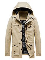 cheap -Men's Hoodie Jacket Hiking Windbreaker Military Tactical Jacket Outdoor Solid Color Thermal Warm Windproof Warm Quick Dry Outerwear Trench Coat Top Full Length Visible Zipper Skiing Ski / Snowboard