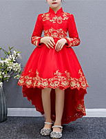 cheap -Kids Little Girls' Dress Floral / Botanical Daily Wear Red plus velvet Red Long Sleeve Chinese Style Dresses Fall & Winter 3-12 Years / Cotton