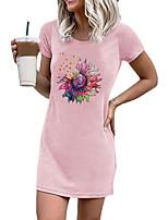 cheap -Women's Wrap Dress Short Mini Dress Blushing Pink Light Grey Black Short Sleeve Print Modern Style Summer Round Neck Casual Sexy 2021 S M L XL XXL XXXL