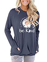 cheap -Women's Painting T shirt Floral Daisy Letter Long Sleeve Print Round Neck Basic Vintage Tops Regular Fit Cotton Blushing Pink Green Light gray