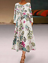 cheap -Women's A Line Dress Midi Dress White Long Sleeve Floral Print Fall Round Neck Casual 2021 M L XL XXL