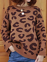 cheap -Women's Pullover Sweater Modern Style Leopard Print Active Casual Long Sleeve Sweater Cardigans Round Neck Fall Winter khaki Coffee / Holiday