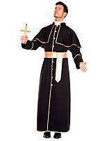 cheap -Pastor Cosplay Costume Adults' Men's Halloween Halloween Halloween Festival / Holiday Terylene Black Men's Easy Carnival Costumes Solid Color / Coat / Waist Belt