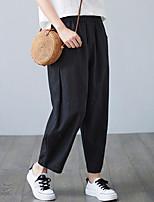 cheap -Women's Fashion Streetwear Comfort Chinos Loose Casual Weekend Pants Plain Ankle-Length Pocket Elastic Waist Blue Purple Yellow Black Beige