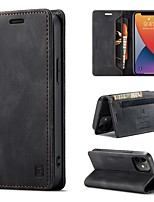 cheap -Phone Case For Apple Full Body Case iPhone 12 Pro Max 11 SE 2020 X XR XS Max 8 7 6 Wallet Card Holder Shockproof Solid Colored PU Leather