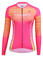 cheap -21Grams Women's Long Sleeve Cycling Jersey Summer Spandex Pink Stripes Bike Top Mountain Bike MTB Road Bike Cycling Sports Clothing Apparel / Stretchy / Athleisure