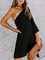 cheap -Women's A Line Dress Short Mini Dress Blue Fuchsia White Black Red Long Sleeve Solid Color Backless Ruffle Summer One Shoulder Casual 2021 S M L XL