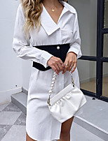 cheap -Women's Shirt Dress Short Mini Dress White Long Sleeve Solid Color Modern Style Spring Summer Fold-over Collar Basic Casual 2021 S M L XL / Cotton