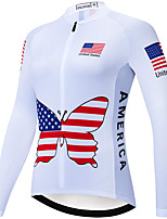 cheap -21Grams Women's Long Sleeve Cycling Jersey Spandex Polyester White American / USA Funny Bike Top Mountain Bike MTB Road Bike Cycling Quick Dry Moisture Wicking Breathable Sports Clothing Apparel