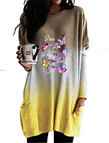 cheap -Women's Shift Dress Short Mini Dress Purple Blushing Pink Khaki Green Black Long Sleeve Color Gradient Butterfly Letter Pocket Print Fall Winter Round Neck Casual Christmas Batwing Sleeve 2021 S M L
