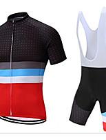 cheap -CAWANFLY Men's Short Sleeve Cycling Jersey with Bib Shorts Summer Black / Red Bike Sports Geometic Mountain Bike MTB Road Bike Cycling Clothing Apparel / Micro-elastic / Athleisure / Triathlon