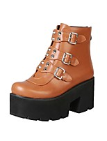 cheap -Women's Boots Goth Boots Platform Booties Ankle Boots PU Solid Colored Light Brown Black