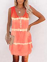 cheap -Women's A Line Dress Short Mini Dress Light Blue Purple Blushing Pink Grey khaki Orange Light Green Sleeveless Stripes Print Spring Summer U Neck Basic Casual 2021 S M L XL XXL XXXL 4XL 5XL
