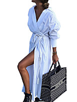 cheap -Women's A Line Dress Maxi long Dress White Red Long Sleeve Solid Color Split Fall V Neck Casual 2021 S M L XL