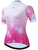 cheap -21Grams Women's Short Sleeve Cycling Jersey Summer Spandex Polyester Pink Floral Botanical Funny Bike Top Mountain Bike MTB Road Bike Cycling Quick Dry Moisture Wicking Breathable Sports Clothing