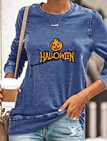 cheap -Women's Halloween Abstract Painting T shirt Text Pumpkin Long Sleeve Print Round Neck Basic Halloween Tops Cotton Blue Yellow Gray