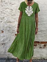cheap -Women's A Line Dress Maxi long Dress Blue Yellow Green Orange Short Sleeve Floral Print Fall Summer Round Neck Casual 2021 S M L XL XXL 3XL