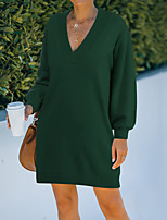 cheap -Women's Shift Dress Knee Length Dress Gray Green Orange Long Sleeve Solid Color Ruched Fall Spring V Neck Casual 2021 S M L XL / Cotton