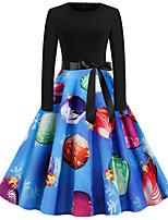 cheap -Women's A Line Dress Knee Length Dress Blue Wine Light Red Green Black Red Light Green Dark Blue Long Sleeve Print Bow Print Fall Winter Round Neck Casual Vintage Christmas 2021 S M L XL XXL
