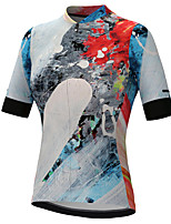 cheap -21Grams Women's Short Sleeve Cycling Jersey Summer Spandex Polyester Grey Graffiti Funny Bike Top Mountain Bike MTB Road Bike Cycling Quick Dry Moisture Wicking Breathable Sports Clothing Apparel