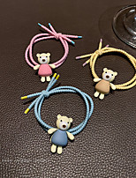 cheap -6 Pcs/set Cute Bear Hair Ropes Simple And Personalized Design Hair Accessories Tie Hair Rubber Bands Go Out Headdress Women