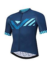 cheap -CAWANFLY Men's Short Sleeve Cycling Jersey Summer Dark Blue Bike Tee Tshirt Jersey Top Road Bike Cycling Quick Dry Sports Clothing Apparel / Micro-elastic