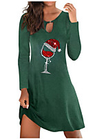 cheap -Women's A Line Dress Knee Length Dress Green Black Dark Blue Long Sleeve Print Modern Style Fall Round Neck Casual 2021 S M L XL XXL 3XL 4XL 5XL