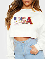 cheap -Women's Sweatshirt Crop Top American US Flag Text Crop Top Print Casual Sports Hot Stamping Cotton Active Streetwear Hoodies Sweatshirts  Yellow Gray White