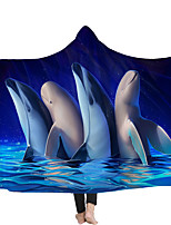 cheap -New cloak children blanket nap blanket with hat dolphin double layer with plush exclusive bonded blanket