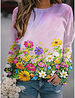 cheap -Women's Sweatshirt Pullover Floral Graphic Print Sports Holiday 3D Print Basic Streetwear Hoodies Sweatshirts  Blushing Pink
