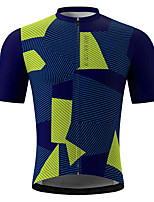 cheap -21Grams Men's Short Sleeve Cycling Jersey Summer Spandex Polyester Blue Grey Green Stripes Funny Bike Top Mountain Bike MTB Road Bike Cycling Quick Dry Moisture Wicking Breathable Sports Clothing