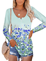 cheap -Women's Floral Theme Painting T shirt Floral Graphic Long Sleeve Button Print Round Neck Basic Tops Blue Blushing Pink