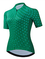 cheap -21Grams Women's Short Sleeve Cycling Jersey Summer Spandex Polyester Green Dot Funny Bike Top Mountain Bike MTB Road Bike Cycling Quick Dry Moisture Wicking Breathable Sports Clothing Apparel