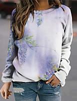 cheap -Women's Sweatshirt Pullover Plants Graphic Prints Print Daily Sports 3D Print Active Streetwear Hoodies Sweatshirts  Blue