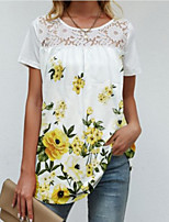 cheap -Women's Abstract T shirt Dress Graphic Flower Lace Print Round Neck Sexy Boho Tops Blue Yellow Black
