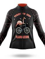 cheap -21Grams Women's Long Sleeve Cycling Jersey Spandex Black Flamingo Bike Top Mountain Bike MTB Road Bike Cycling Quick Dry Moisture Wicking Sports Clothing Apparel / Stretchy / Athleisure