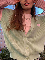 cheap -Women's Cardigan Sweater Modern Style Plaid / Check Casual Long Sleeve Sweater Cardigans V Neck Fall Winter Blue