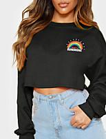 cheap -Women's Sweatshirt Crop Top Rainbow Text Crop Top Print Casual Sports Hot Stamping Cotton Active Streetwear Hoodies Sweatshirts  Yellow Gray White