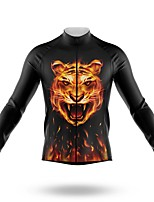 cheap -21Grams Men's Long Sleeve Cycling Jersey Spandex Black Tiger Bike Top Mountain Bike MTB Road Bike Cycling Quick Dry Moisture Wicking Sports Clothing Apparel / Stretchy / Athleisure